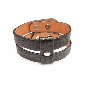 Black Faux Leather Goth Wrap Bracelet Snap Closure